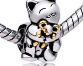 Kitty Cat Spacer Bead  For European Style Charm Bracelet