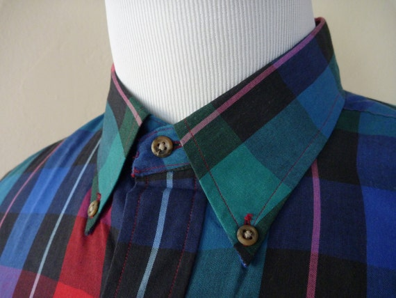 Vintage SERO Multicolored Plaid Button-Down Collar Shirt XL 17 1/2 x 34.  Made in USA.