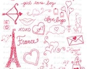 Valentines Day Love Photoshop Brushes France Eiffel Tower/ Overlays for Photographers / Chalkboard/  Clip Art /Stamps / Digital Scrapbooking