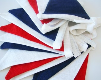 Bunting / Fabric Flag Banner / Pennant Nursery / Porch / Patio Decor / Photo Prop / Navy / Red / Champagne White