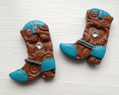 brown and turquoise cowgirl boot, handmade polymer clay button with rhinestone