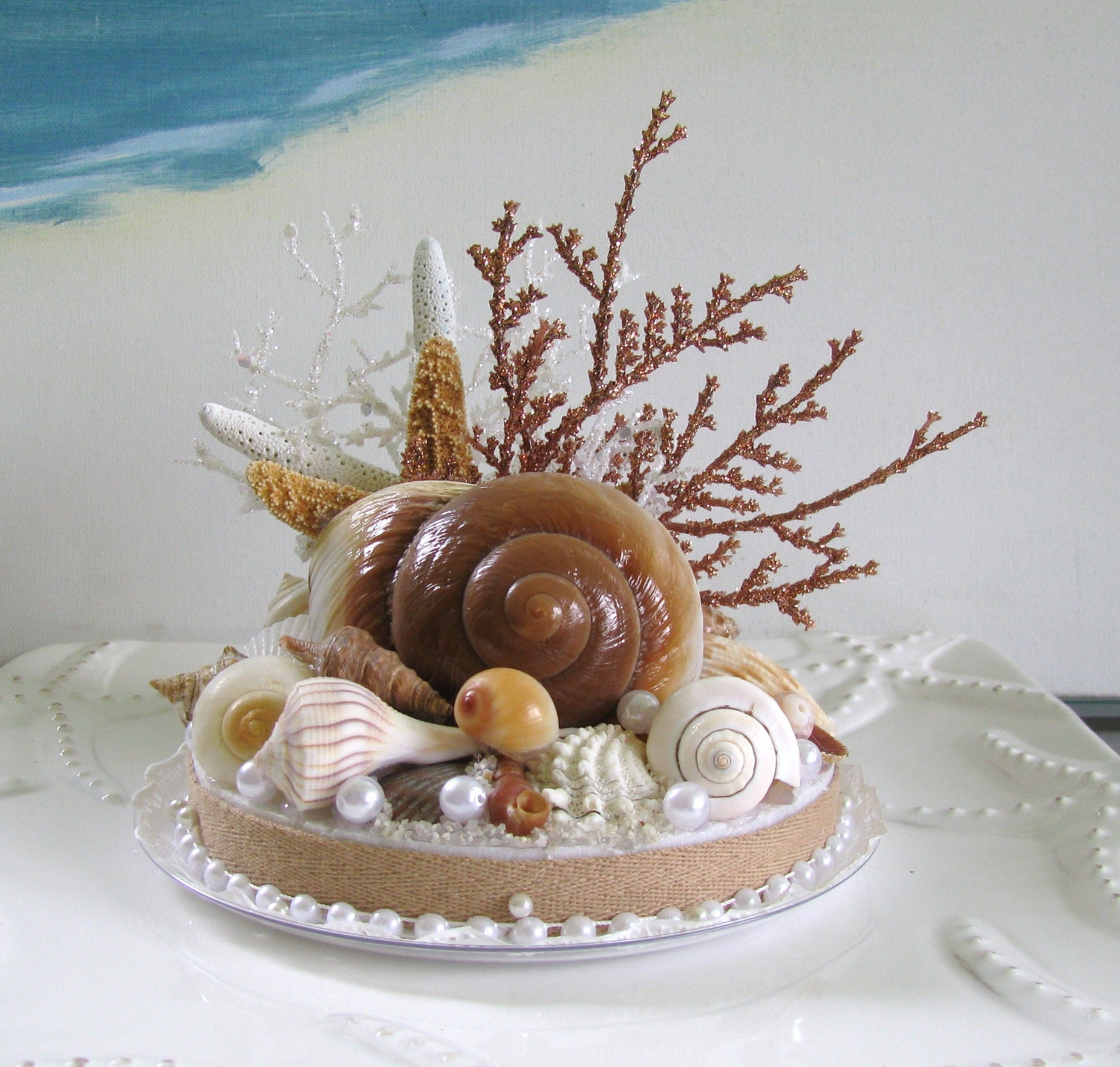 seashell starfish coral wedding cake topper beach wedding cake topper ebay. Black Bedroom Furniture Sets. Home Design Ideas