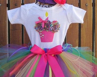 BIRTHDAY PARTY Birthday Girl Set - 3D Cupcake Onesie and Tutu Skirt and Matching Flower Headband- 1st 2nd 3rd 4th 5th Birthday