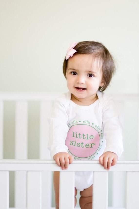 Little sister Onesie Personalized Little Sister Cousin Onesie Baby Girls High Quality Tee One Piece Infant