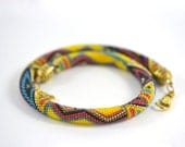Mexico Necklace Yellow  Blue  Red  Black Bead Crochet Necklace Beadwork  Jewelry  Tribal  Folk  Multicolors  Made to order
