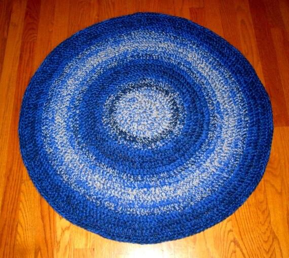 Crocheted Rug Rag Look Rug Wool Blend Crocheted Rug Blue