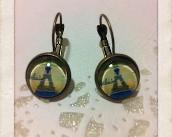 12mm Glass Eiffel Tower Print Vintage Style Earrings