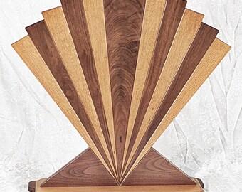 Fireplace Screen Fan Quarter Sawn Oak Walnut Art Deco Machine Age Inspired Made in USA