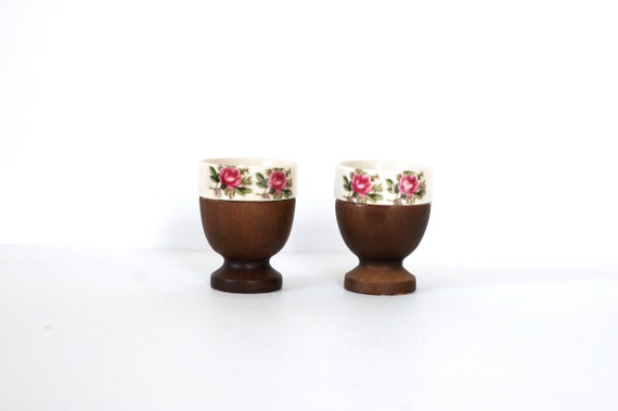 Set of Vintage Floral Egg Cups