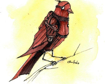 Red Bird: Fine Art print of original illustration