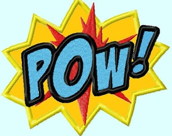 POW Applique Embroidery Design,  3 sizes INSTANT DOWNLOAD