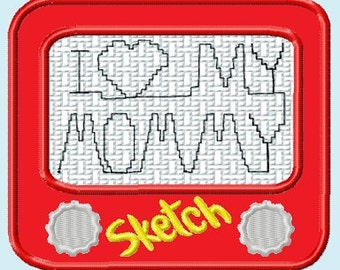 Sketch Pad with I Love Mommy APPLIQUE Embroidery Designs 3 size INSTANT DOWNLOAD