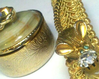 Gold Mouse and Stone Vanity Purse Set Shabby Chic Fun Glove Clip and Tic Tac Container