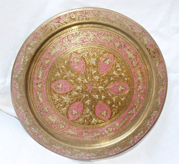 British India Tray Etched Brass Tray With Pink Or Purple