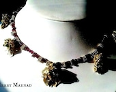 Garnet Necklace and Earrings with Antique Silver - India Garnet - Womens OOAK demi parure Jewelry Set