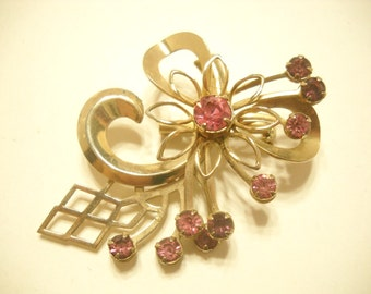 Vintage 1950s PINK TOPAZ BROOCH or Pendant (3251)
