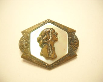 Vintage MOTHER OF PEARL Cameo Brooch--No Pin--Wear as a Button (3819)