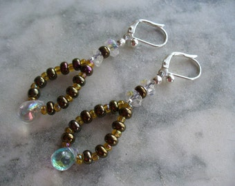 Beaded Dangle Earrings, Brown and Gold Color Beaded Dangle Earrings, Silver Earrings, Dangle Earrings, Womens Jewelry, Leverback Earrings