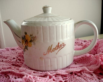 Vintage Teapot Ellgreave Mother Wood & Sons England Yellow Floral Cottage Chic Ironstone 1 1/2 Cup Shabby Cottage Chic