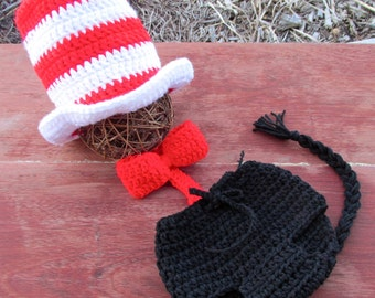 Newborn - 1 yo. Baby Crochet Cat in the hat top hat  Dr. Seuss inspired hat diaper cover bow tie set Photography Prop