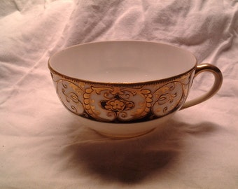Noritake Teacup, Hand Painted with Gold on Black and White