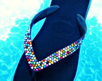 Swarovski Crystal Flip Flops Havaianas or Cariris Beach Shoes Multi Colored Magic Carpet Ride