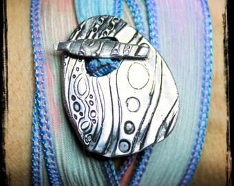 Hippie Jewelry  Silk Wrap Bracelet  Retro Lava Lamp  Fun gift