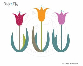 Tulip applique template - PDF applique pattern