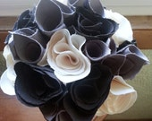 SALE***Charcoal and White Fabric Rose Bouquet
