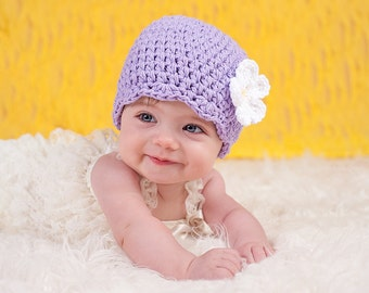 Baby Girl Hat 0 to 3 Month Lavender Baby Hat Light Purple Baby Hat Baby Girl Clothes Crochet Flower Hat Flapper Spring Baby Hat Easter Gift