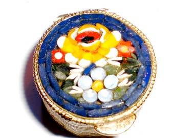 Cloisonne Pill box with mosaic Flower theme