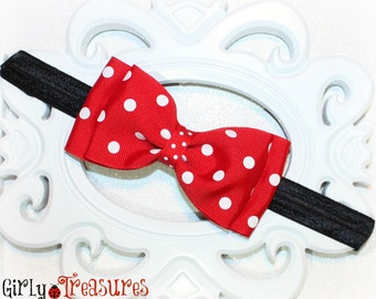 Large Minnie Mouse Bow on Headband. Polka Dots Headband. Baby Headband. Infant Headband. Girl Headband. Photo Prop.