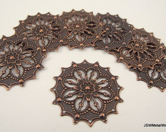 Focal Antiqued Copper Filigree Flower, 34x34mm, 10 Pieces