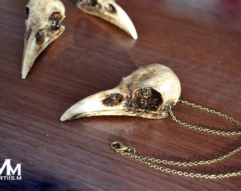 Animal-friendly FodderCrow crow skull necklace pendant by Mortiis.M