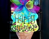 Ice Cream Summer Wreath | Summer Door Hanger | Ice Cream Party | Ice Cream Party Decorations | Wreath for Front Door
