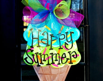 Summer Door Hanger: Ice Cream Cone Door Hanger, Door Decoration, Summer Wreath
