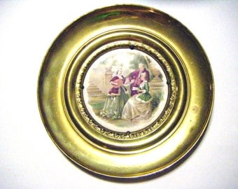 Jean-Honore Fragonard Painting On Porcelain Inside of Solid Brass Plate Made In England