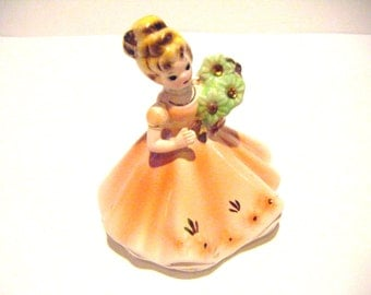 Josef Originals Birthday Girl With Bouqet of Flowers and Long Gown Figurine