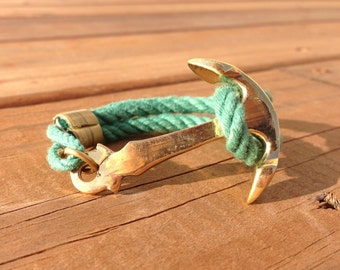 Nautical Rope Brass Anchor Bracelet - Grass