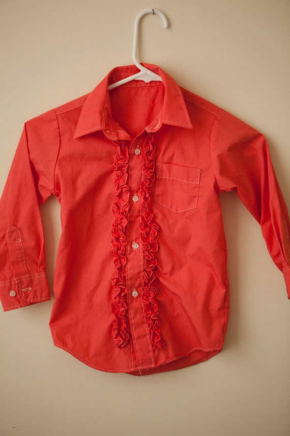 Boys vintage ruffle tuxedo dress shirt size 4 5 coral red for Red ruffled tuxedo shirt