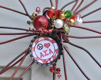 Sorority Alpha Sigma Alpha wire flower with bottle cap beaded bling