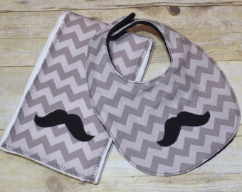 Mustache Grey Chevron Baby Bib and Burp Pad Set
