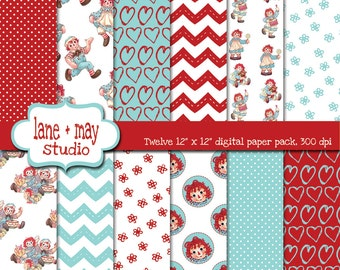 raggedy ann and andy red and aqua digital scrapbook papers - INSTANT DOWNLOAD