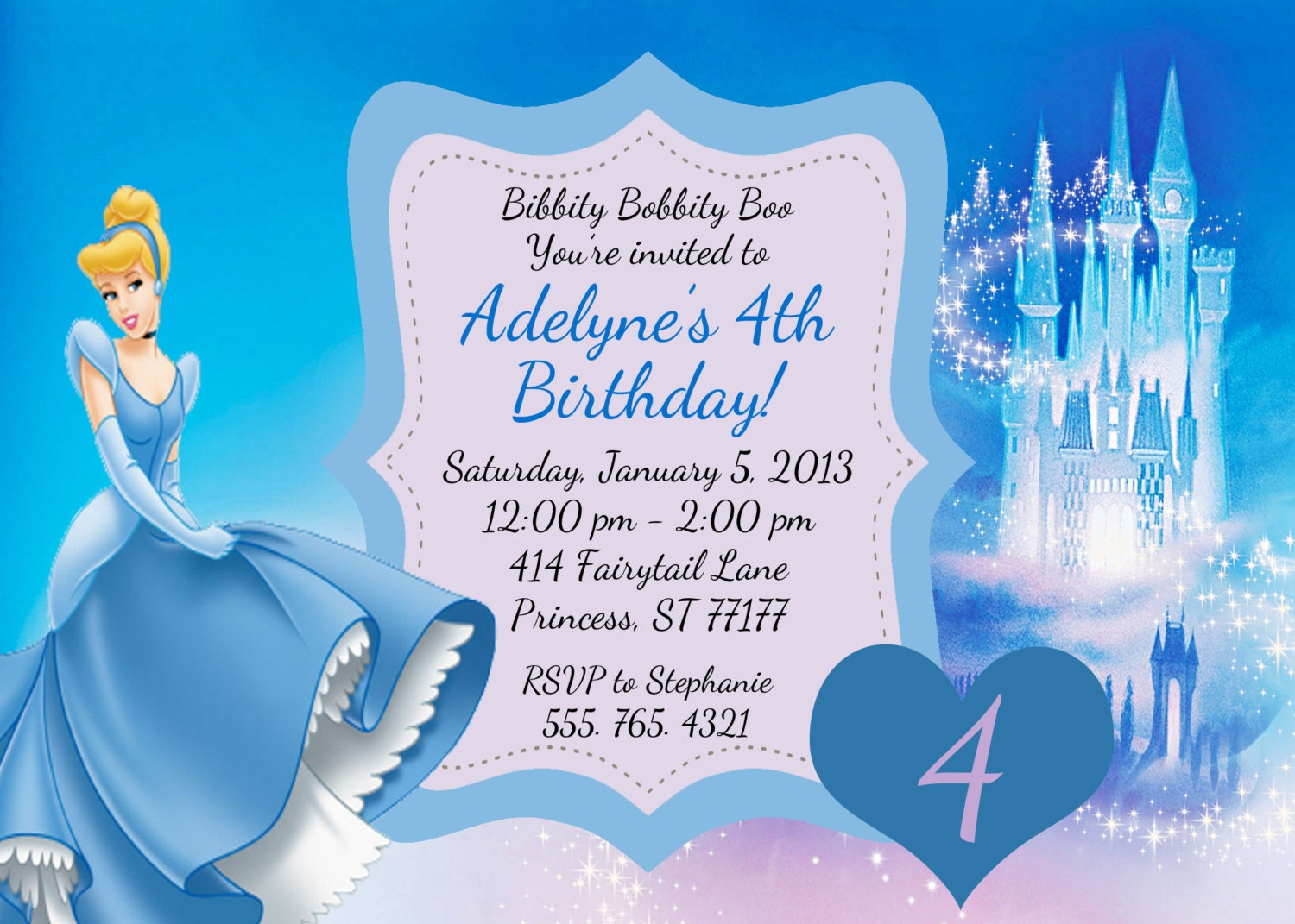 Cinderella birthday invitation by partypassiondesign on etsy for Cinderella invitation to the ball template