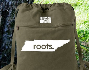 Tennessee TN Roots Canvas Backpack Cinch Sack