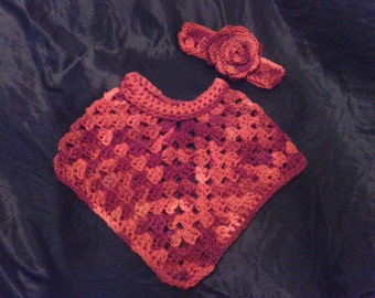 Baby Variegated Poncho with Flower Headband