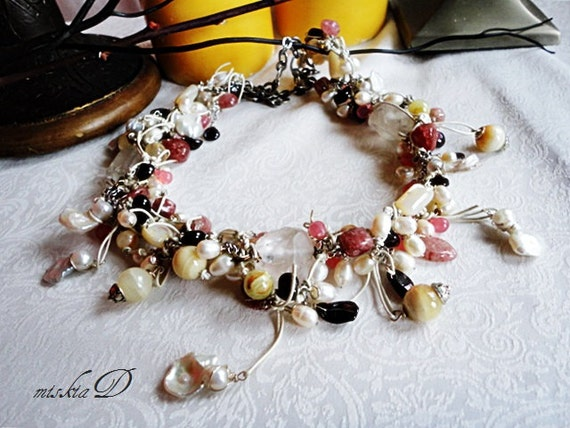 Reserved - Bridal Necklace, Leather Wrapped Jewelry, White Pearls Necklace, Gemstone Wedding Jewelry, Beach Wedding Necklace