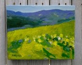 "COLORFUL small Landscape Painting Abstract  fields flowers Original oil 8""X10"" canvas Impasto Wall Art framing available"
