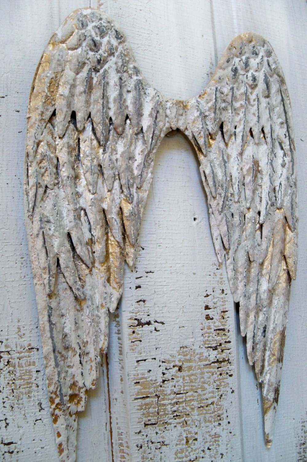 White Metal Angel Wings Wall Sculpture Shabby Chic Distressed
