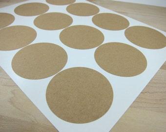 Round Brown Kraft Labels - 2.5 inch Circles - Printable Mason Jar Labels